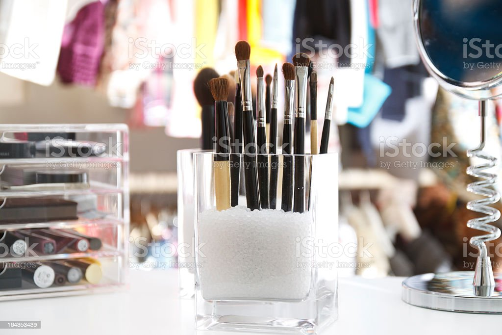 Make-up Storage in a Walk-in Closet stock photo