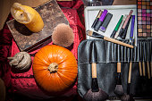 Makeup tools with halloween objects