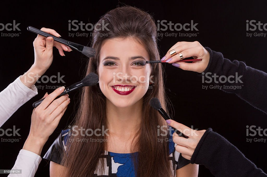 Make-up young girls stock photo