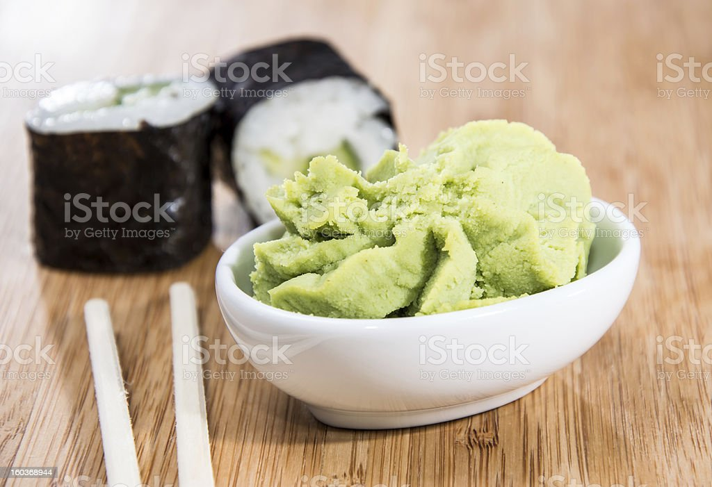 Maki rolls with Wasabi stock photo