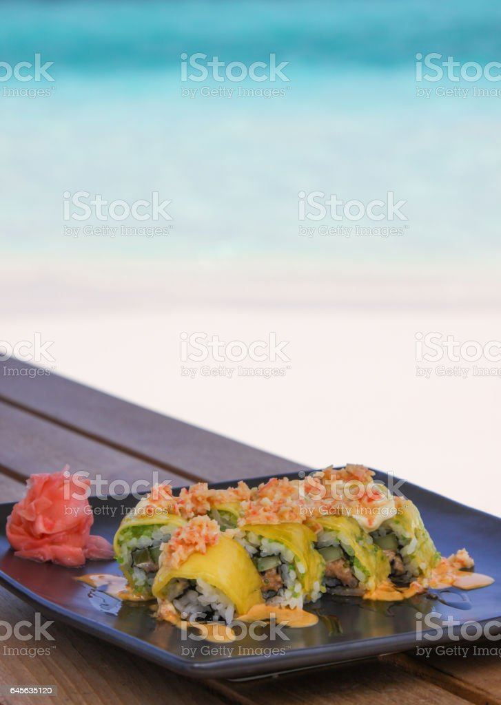 Maki Sushi by the sea stock photo