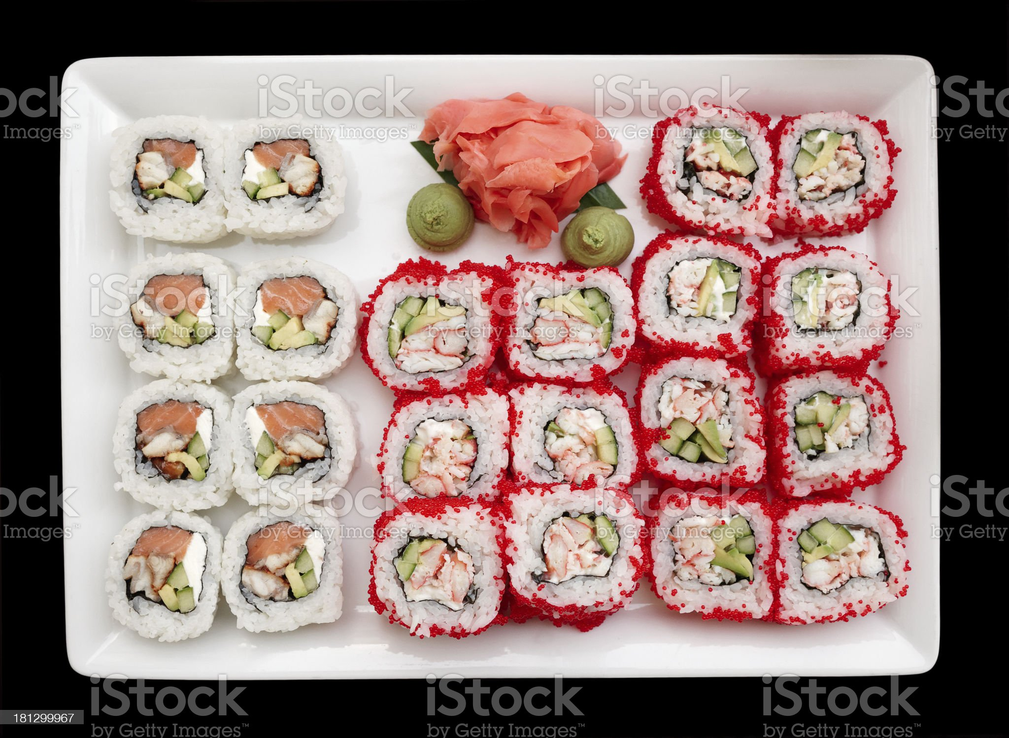 Maki sushi in plate, isolated on black royalty-free stock photo