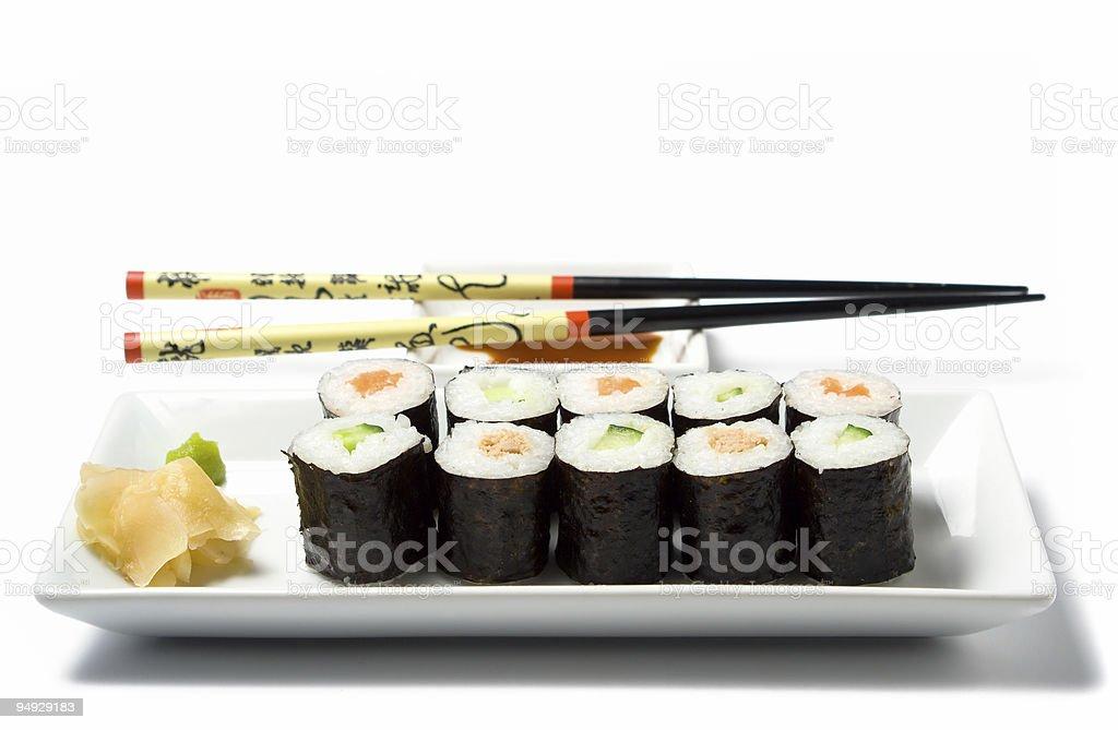maki sushi meal isolated on white royalty-free stock photo