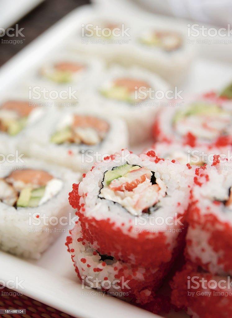 Maki sushi on plate, close-up royalty-free stock photo