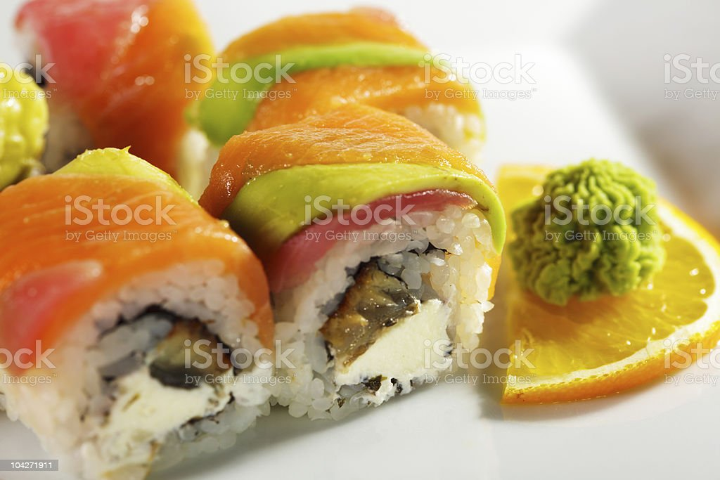 Maki Sushi - Rainbow Roll royalty-free stock photo