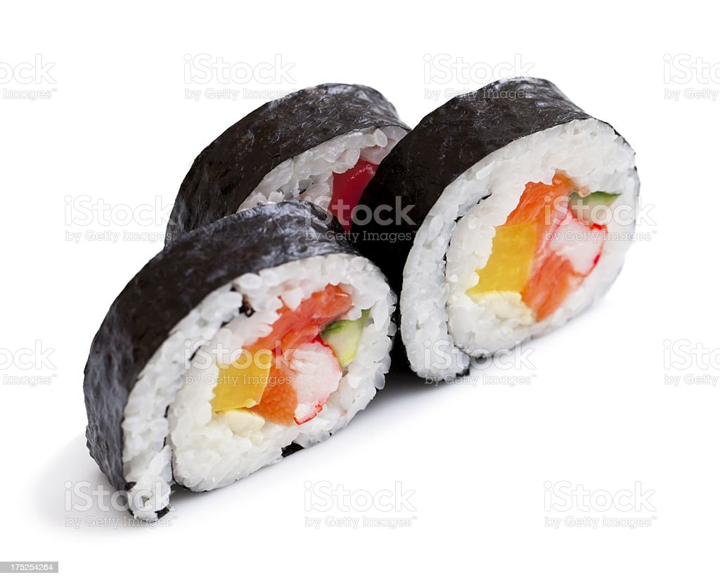 Maki sushi rolls isolated on white royalty-free stock photo