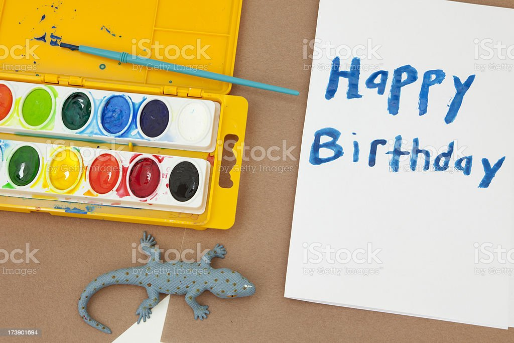 Making a Birthday Card stock photo