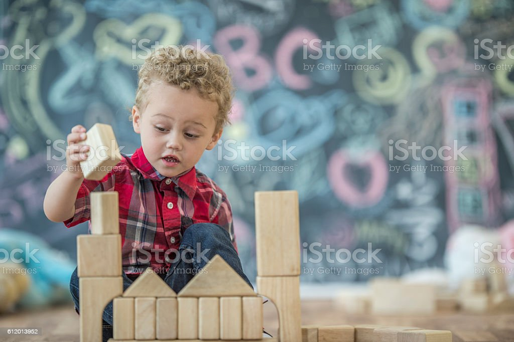 Making a Block Tower stock photo