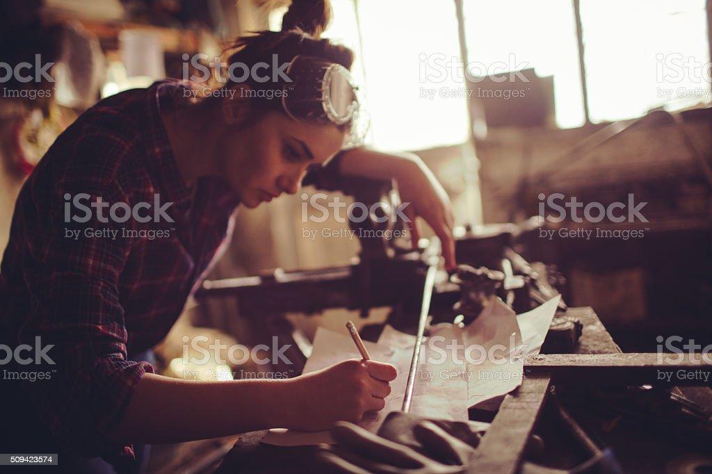 Making a blueprints stock photo