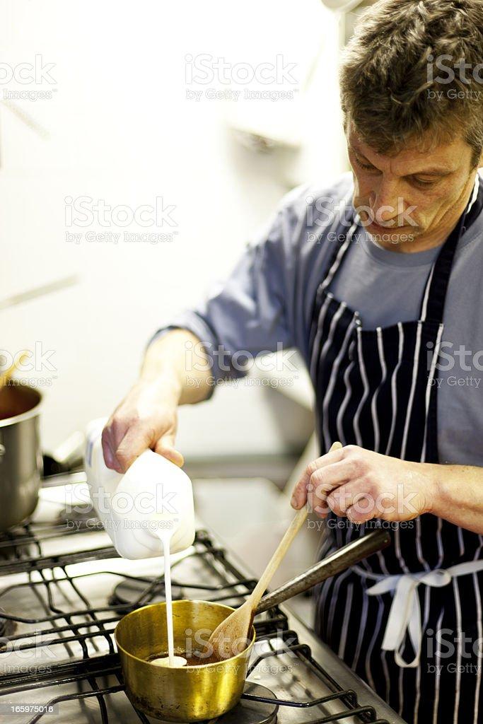 Making a caramel sauce stock photo