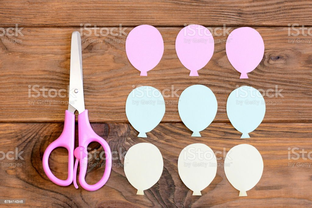 Making a card with paper air balloons. Step. Guide for kids. Balloons from colored paper stock photo
