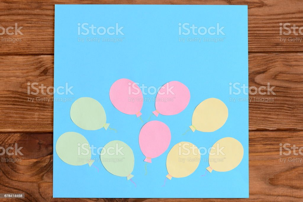 Making a card with paper air balloons. Step. Lesson for children. Card with paper air balloons stock photo