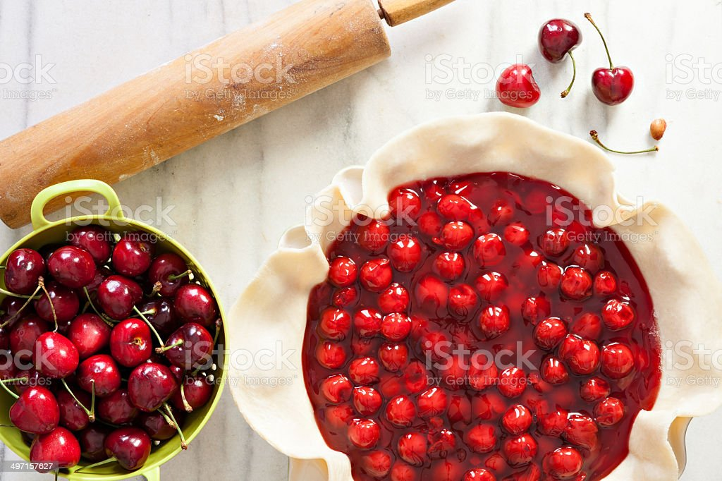 Making A Cherry Pie stock photo