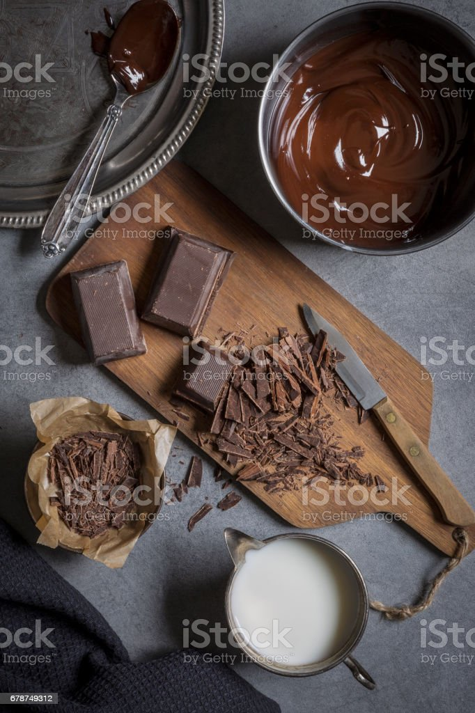 Making a chocolate cake stock photo