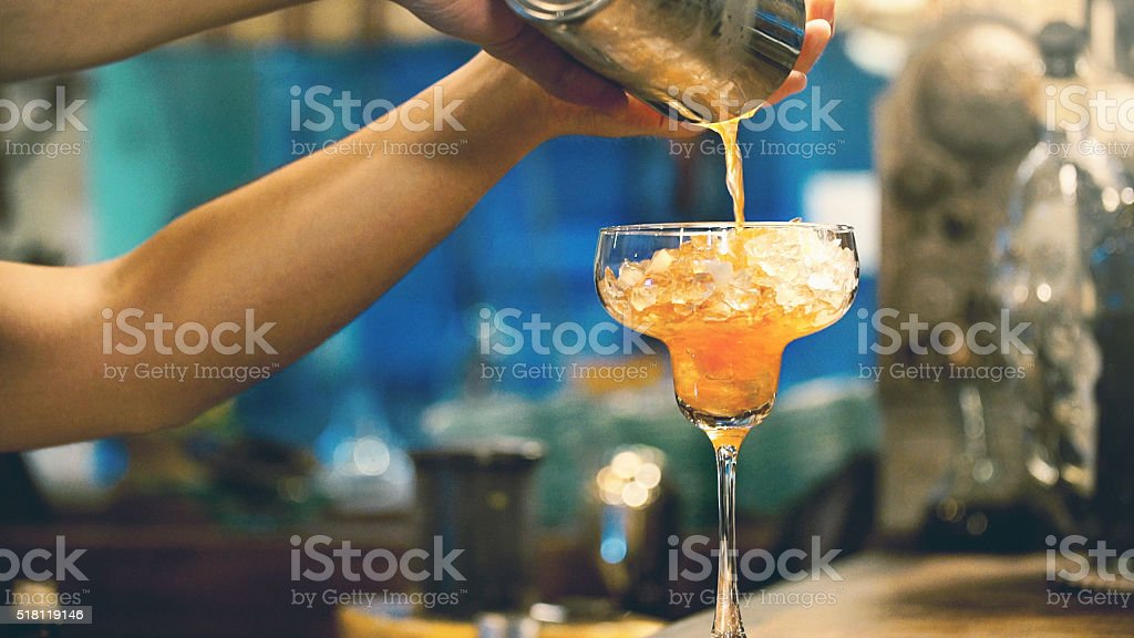 Making a cocktail. stock photo