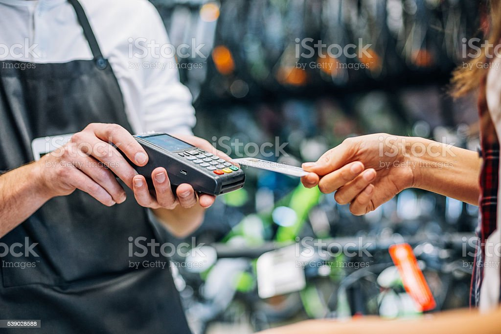 Making a contactless payment stock photo