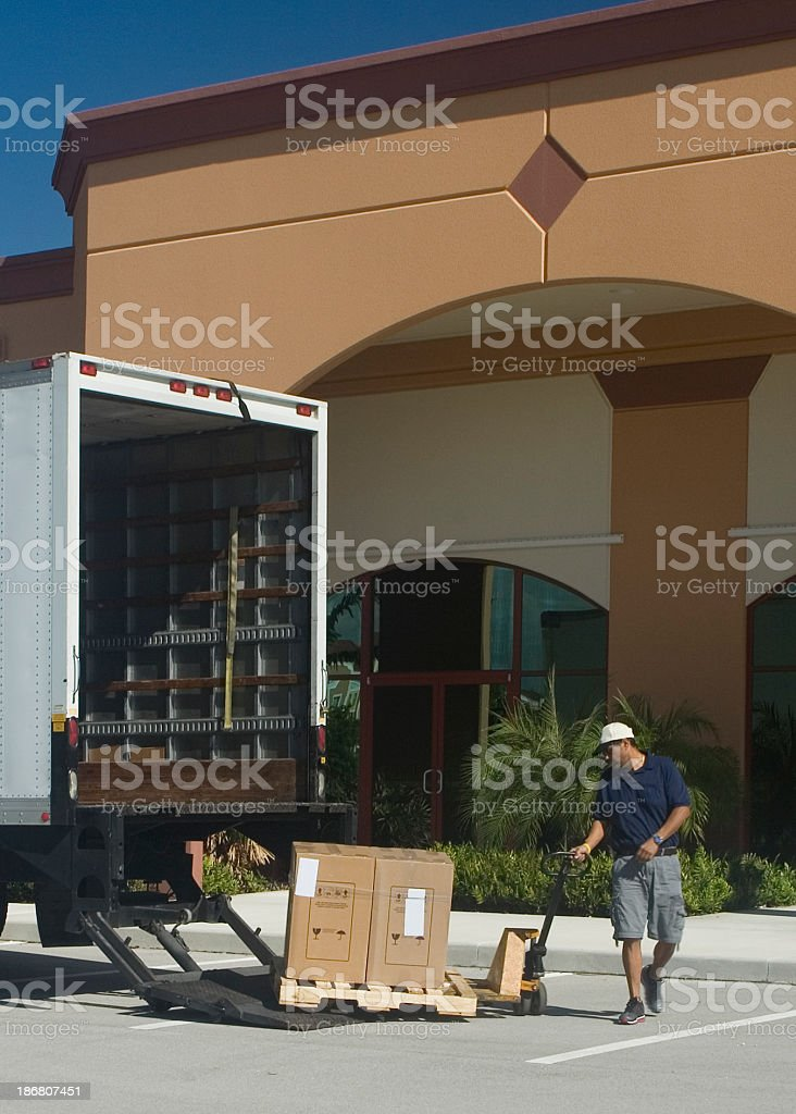 Making a delivery royalty-free stock photo