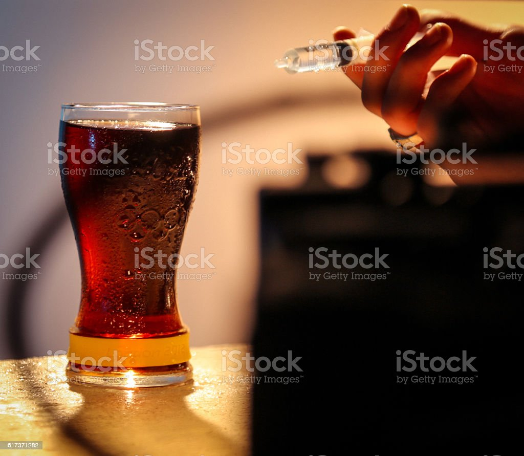 Making a drink cool and fresh stock photo