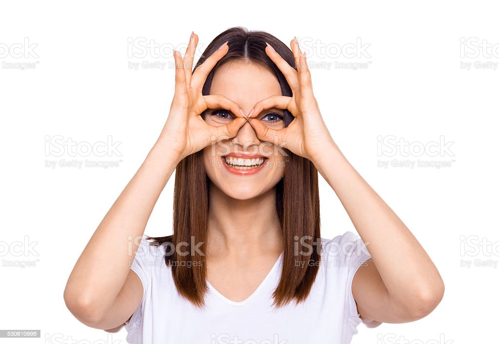 Making a face. stock photo