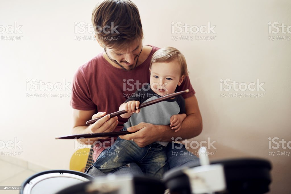 Making a future rockstar stock photo