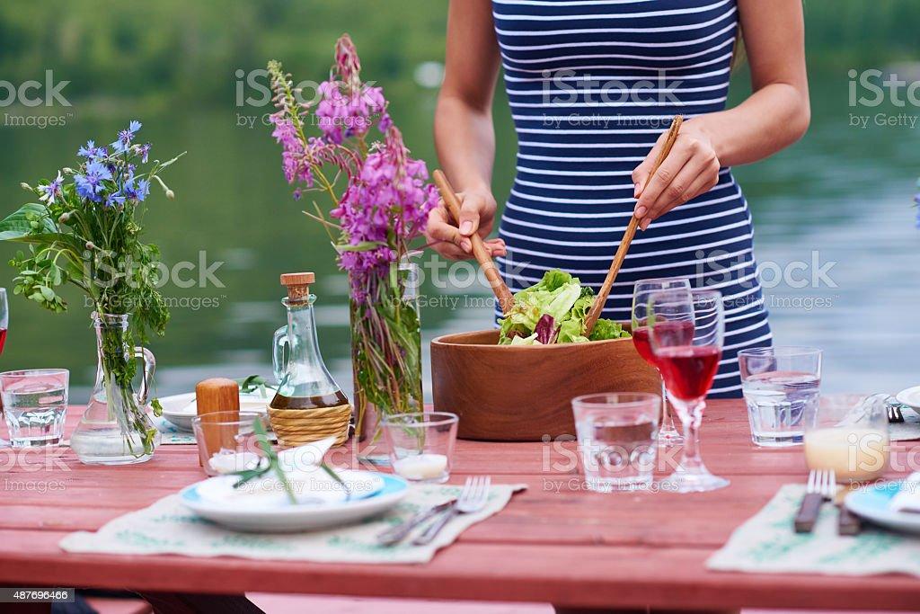 Making a green salad stock photo