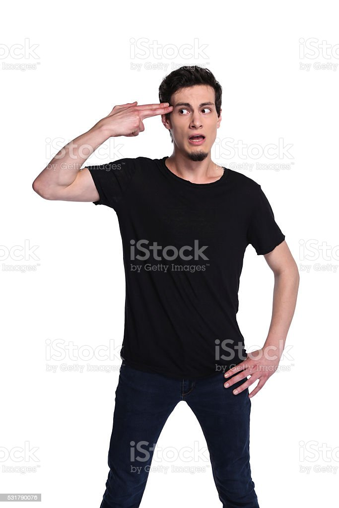 making a gun sign with hand stock photo