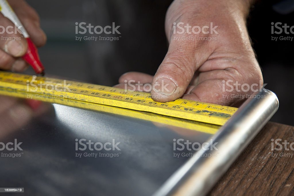 Making a gutter. stock photo