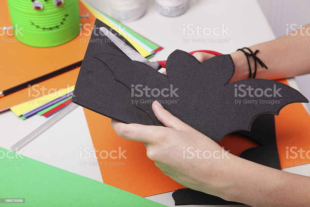 Making a Halloween Bat royalty-free stock photo