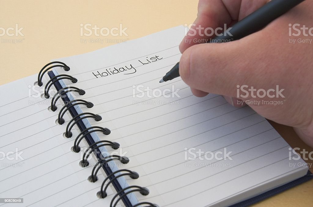 Making a Holiday List royalty-free stock photo