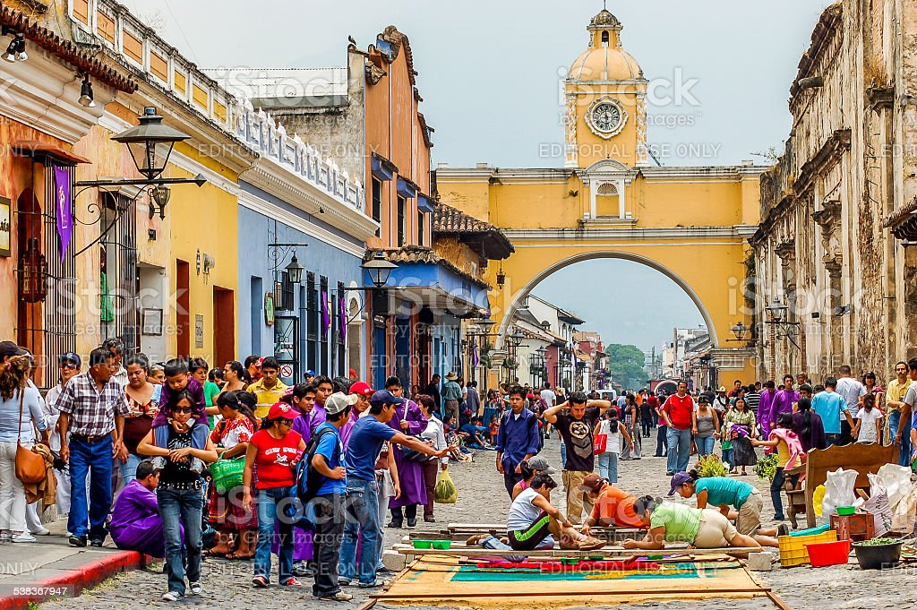 Making a Holy Week carpet, Antigua, Guatemala stock photo