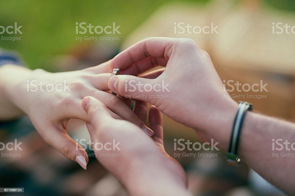 Making a lifelong commitment together stock photo