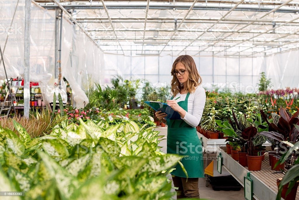 Making a List of plants stock photo