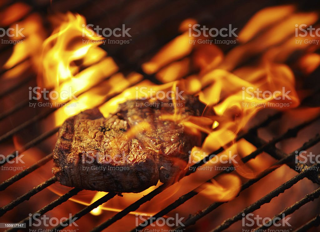 Making a meal of some tender meat stock photo