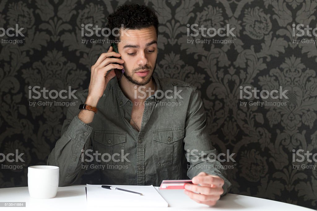 Making a phone payment stock photo