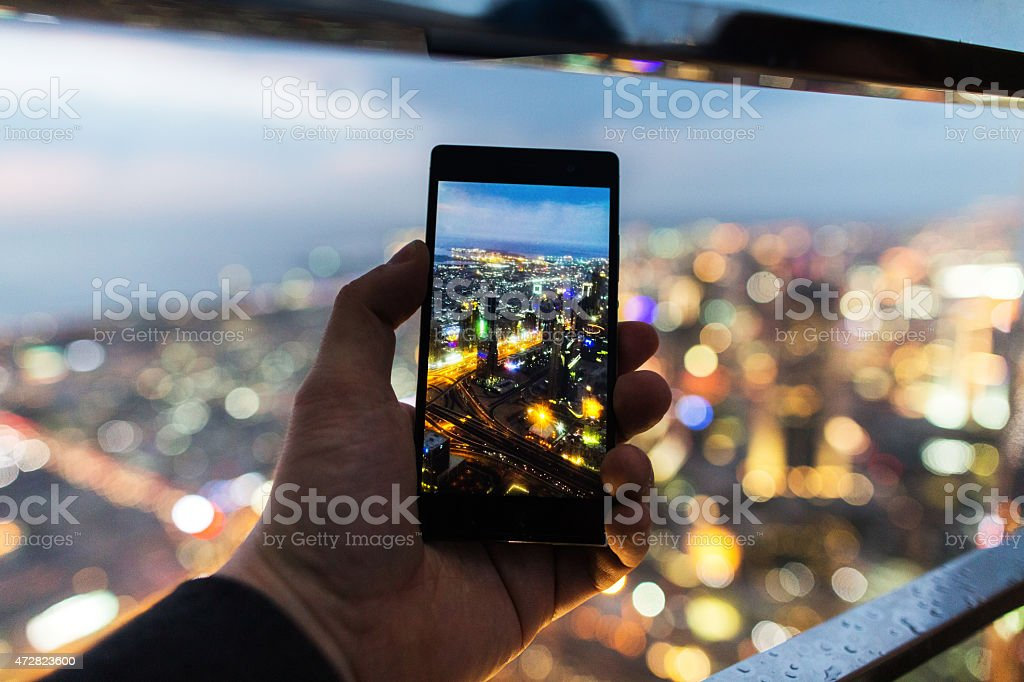 Making a photo with the telephone stock photo