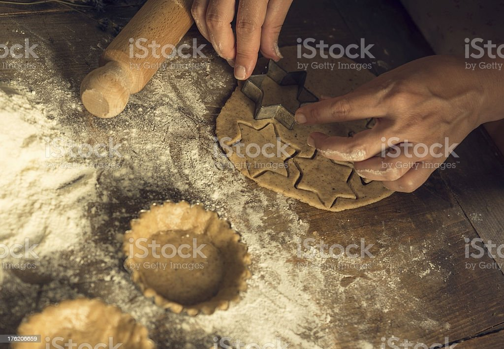 Making a Pie and cookies stock photo