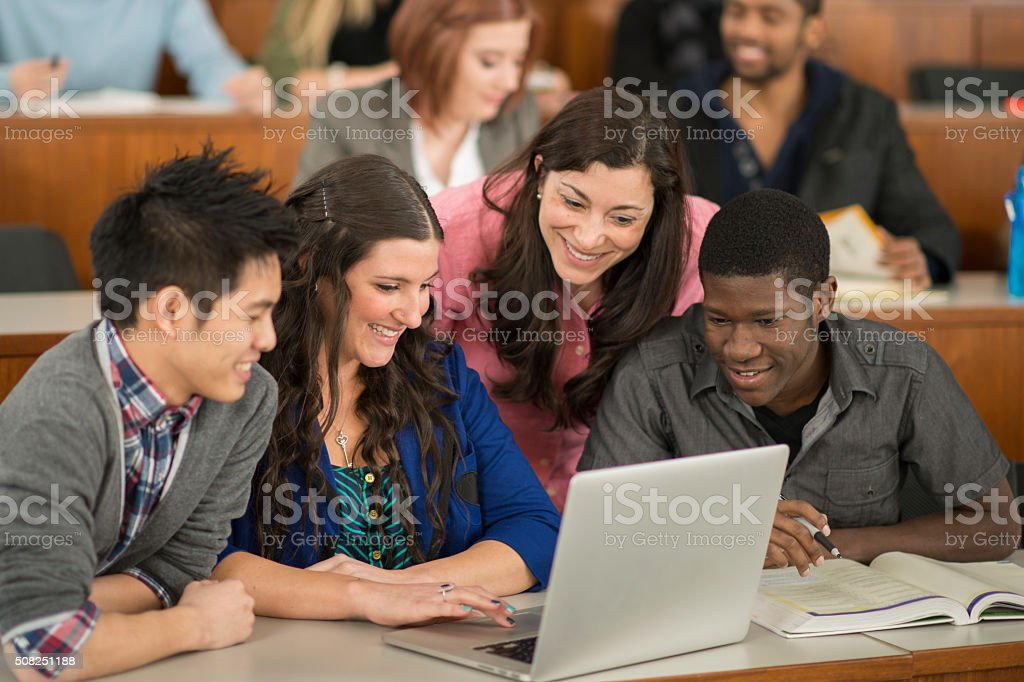 Making a Presentation on a Laptop stock photo