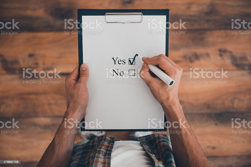 Making a right choice. stock photo