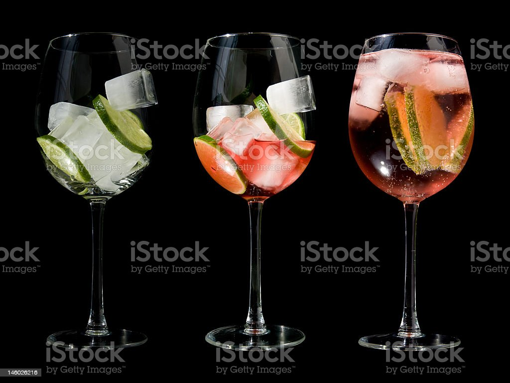 making a rose wine spritzer royalty-free stock photo