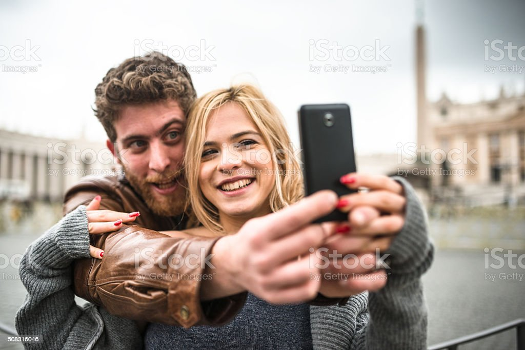 making a selfie in Rome stock photo
