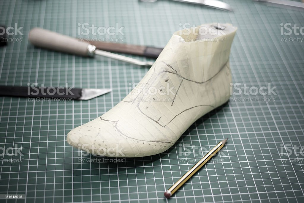 Making a shoe stock photo
