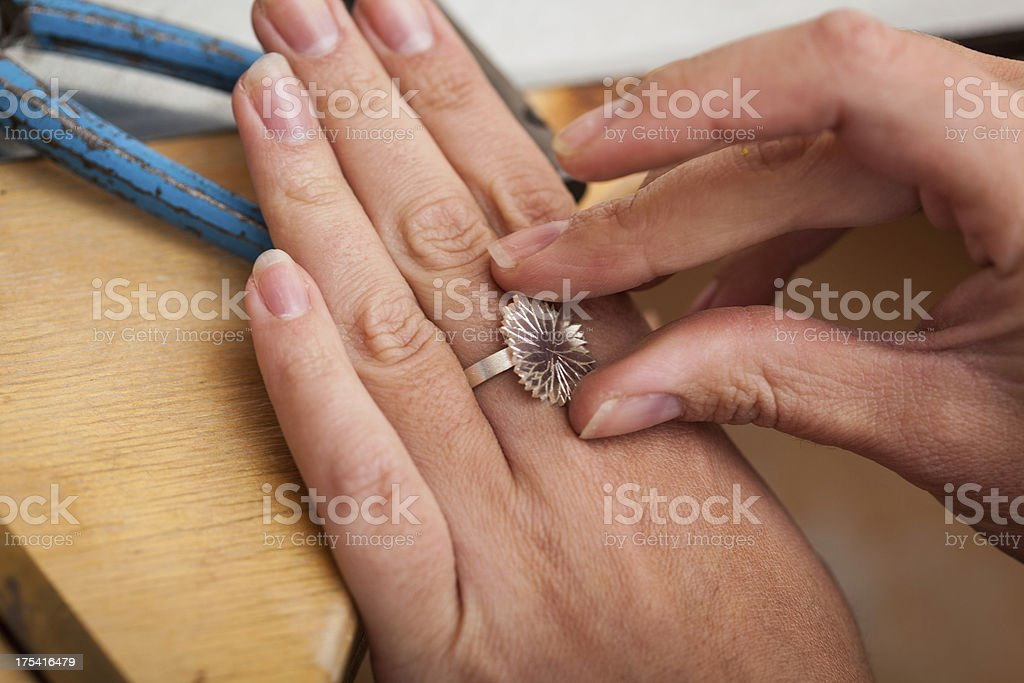 Making a silver ring stock photo