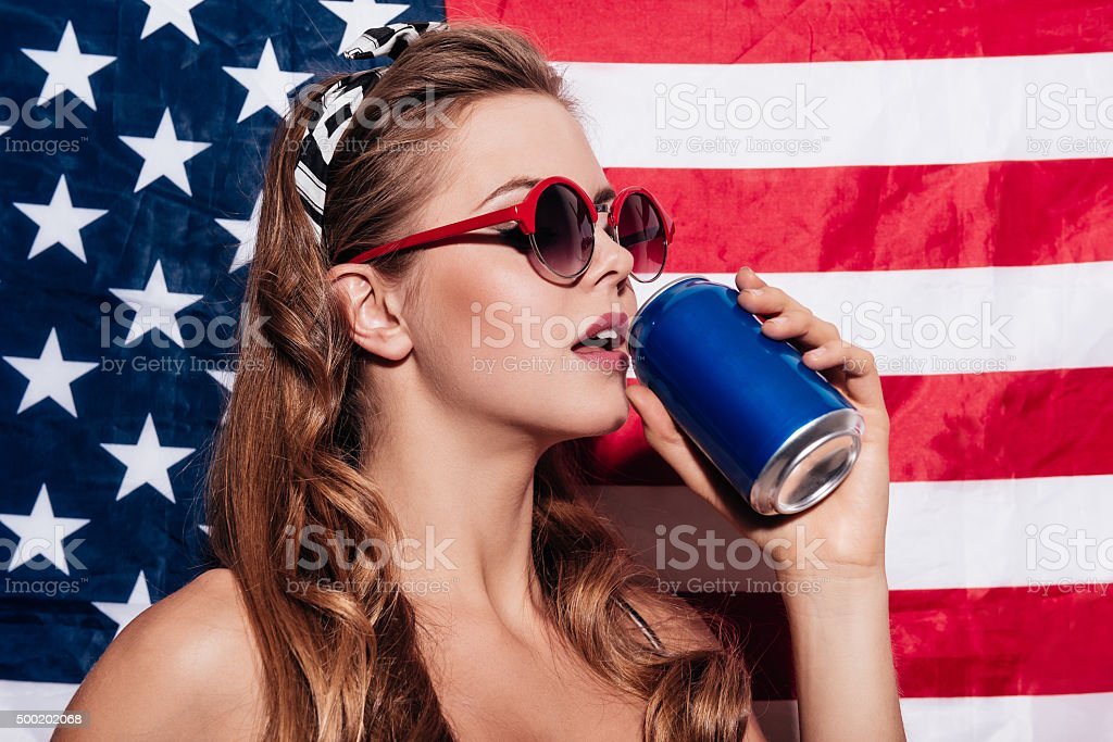 Making a sip. stock photo