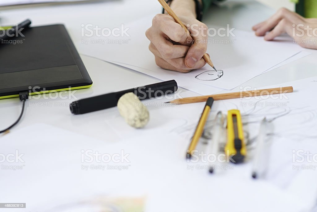 Making a sketch stock photo
