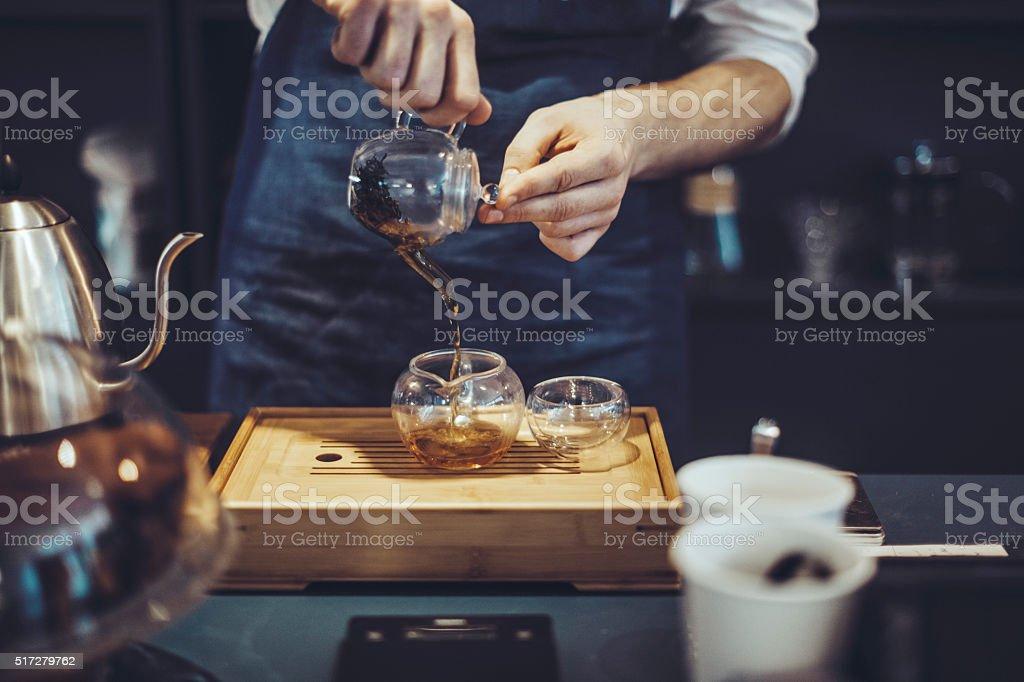 Making a tea stock photo