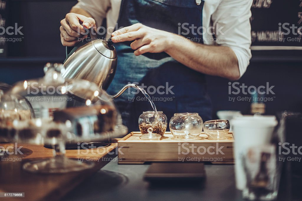 Making a tea stock photo