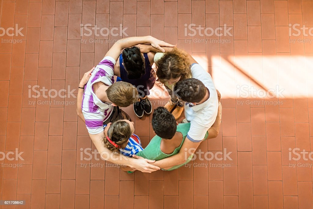 making a team stock photo