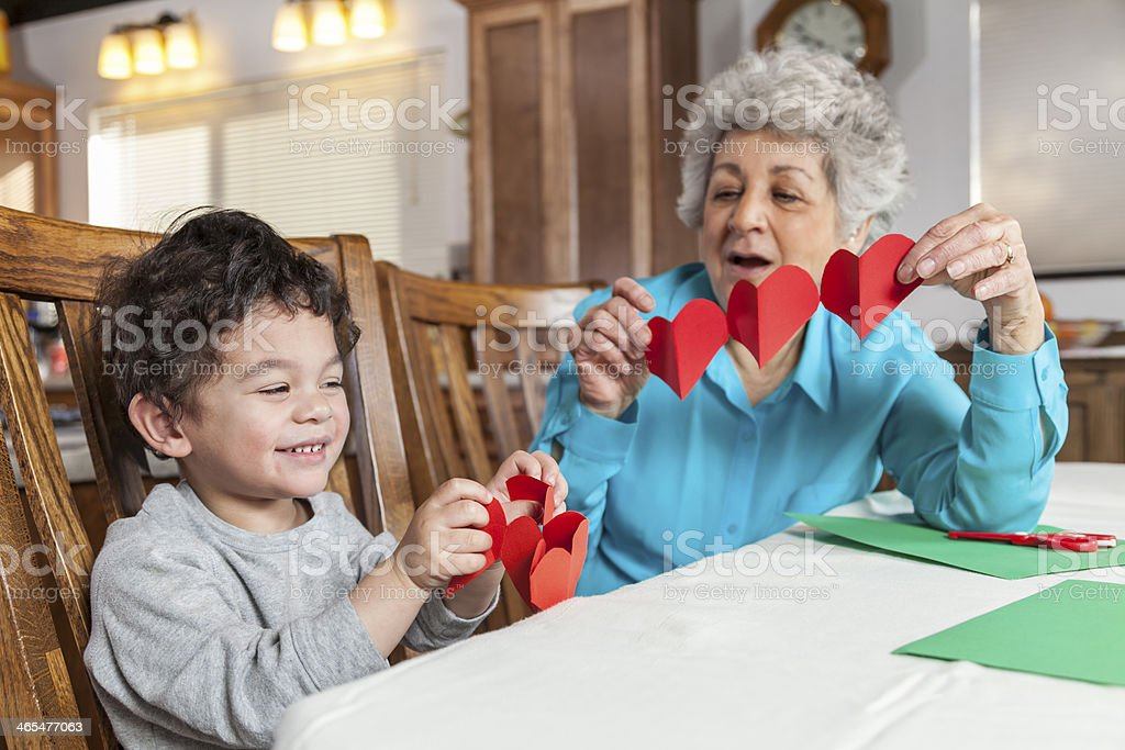 Making a Valentine's Card  for Grandma stock photo