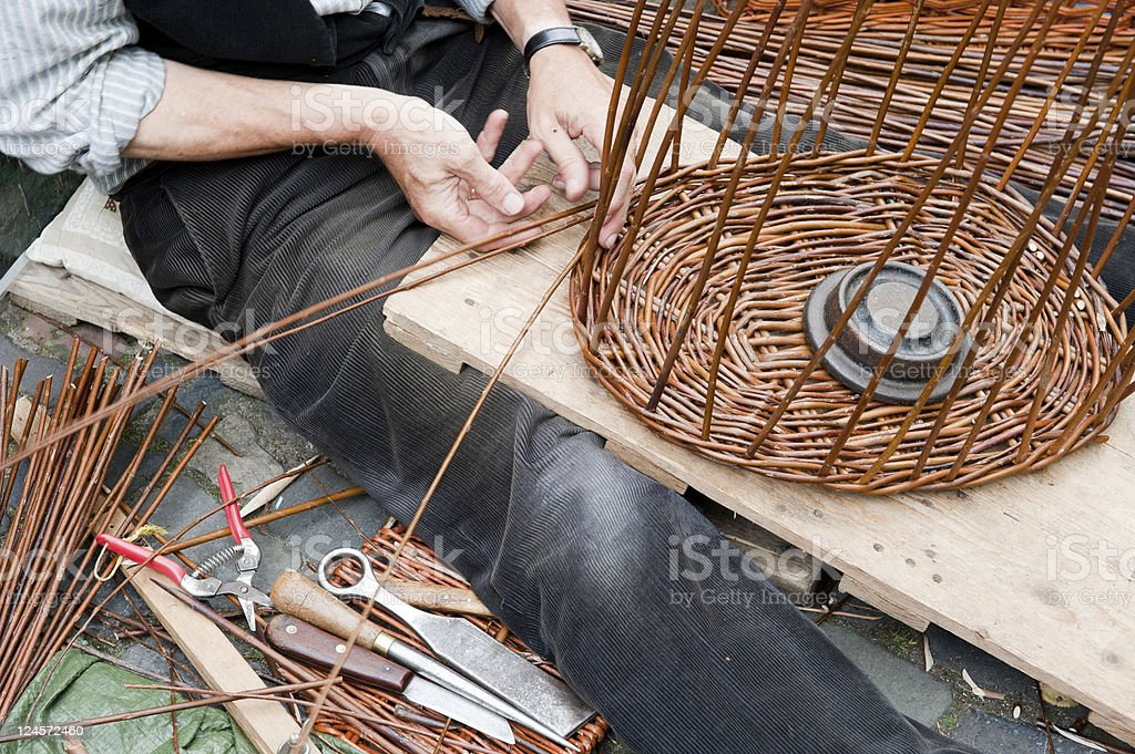 Making a wicker basket royalty-free stock photo