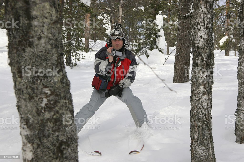 Making a winter video royalty-free stock photo
